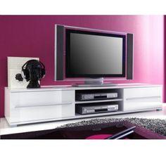 Meuble TV Design Cavalli Blanc Laqué 175 Cm