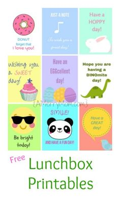 Encourage kids at school with these fun, free lunchbox printables. These nine designs make it easy to have cheery lunchbox notes ready to go into lunches in the morning.