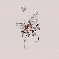 Butterfly With Flowers Tattoo, Butterfly Wrist Tattoo, Butterfly Tattoos For Women, Butterfly Tattoo Designs, Vintage Butterfly Tattoo, Lilly Flower Tattoo, Tattoo Ideas Flower, Realistic Butterfly Tattoo, Lilly Tattoo Design