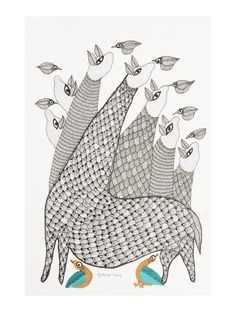 Buy Multi Color Deers Gondh Painting By Subhash Vyam 11in x 7.5in Paper Acrylic Permanent Ink Art Decorative Folk of Good Fortune Tribal Gond from Madhya Pradesh Online at Jaypore.com