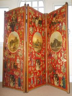 Items similar to Antique Victorian decoupage scrap screen / room divider - red 3 panel - late Century on Etsy