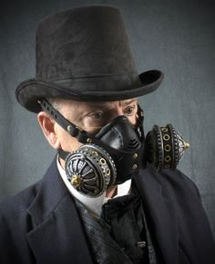 """Steampunk Gas Mask Respirator in silver & brass colors """"Infiltrator"""""""