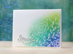 I embossed the images from the Look for the Miracles stamp set in the kit and blended in Cracked Pistachio, Peacock Feathers Cool Cards, Diy Cards, Karten Diy, Card Making Techniques, Paint Techniques, Embossed Cards, Card Making Inspiration, Watercolor Cards, Flower Cards