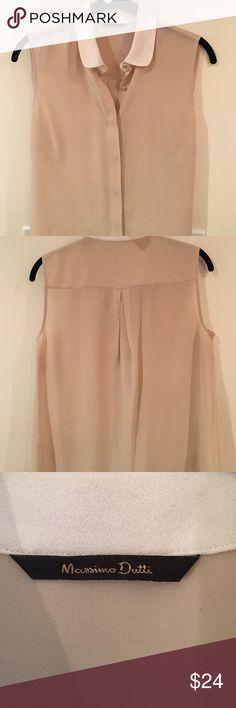 Sleeveless Silk Blouse Lovely ivory & tan 100% silk blouse. Hidden covered buttons. Great under a blazer. Massimo Dutti Tops Blouses