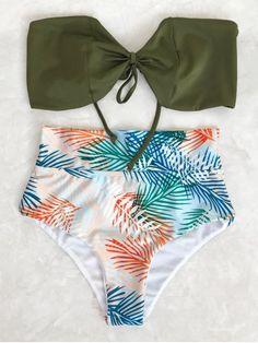 Tropical Bandeau High Waisted Bikini Set - Leaf S Strapless Bikini Top, Bandeau Bikini Set, Bikini Swimwear, Swimsuits, Bikini Beach, Beach Bum, Floral Bikini, Black Bandeau, High Waisted Bikini Bottoms