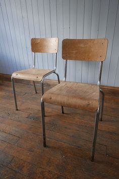 Vintage French Tubular Chrome & Wooden Stacking Chairs CAN DELIVER