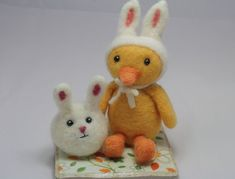 """Needle felt this fun litttle bunny ball, we call him """"Dot""""! More tutorials follow on needle felting Easter Eggs and needle felting his best pal """"Cheep""""! This project requir…"""