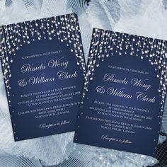 DIY Printable Wedding Invitation Card Template | Editable MS Word file | 5 x 7 | Instant Download | Navy Blue Diamond Shower
