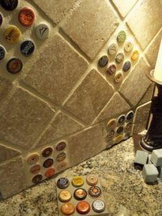 Beer cap backsplash for man cave