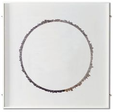 """STONE CIRCLE  Sue Lawty  natural stones  on gesso  40"""" x 40"""" x 1.5"""