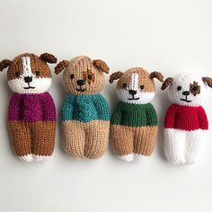 Furry Friends Puppy Dolls pattern by Esther Braithwaite – Knitting patterns, knitting designs, knitting for beginners. Wool Dolls, Knitted Dolls, Crochet Dolls, Knit Crochet, Crochet Cats, Crochet Birds, Crochet Food, Knitted Doll Patterns, Knitting Patterns