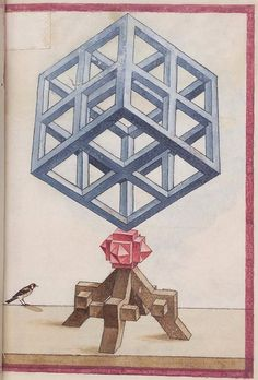 The album of geometric and perspective drawings (Codex Guelf Aug.) from the is available online from Herzog August Bibliothek in Wolfenbüttel (thumbnail pages). Geometric Drawing, Geometric Shapes, Op Art, Geometric Solids, Illustrations, Illustration Art, Arte Tribal, Math Art, Sacred Art