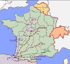 Cartes des chemins vers Saint-Jacques de Compostelle et dela Via Francigena