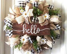 Farmhouse wreath-Hello Wreath-welcome wreath-year around wreath-mesh wreath : Farmhouse wreath-Hello Wreath-welcome wreath-year around wreath-mesh wreath Farmhouse wreath-Hello Wreath-welcome wreath-year around wreath-mesh wreath Fall Mesh Wreaths, Fall Deco Mesh, Summer Door Wreaths, Diy Fall Wreath, Wreaths For Front Door, Burlap Wreaths, Spring Wreaths, Wreath Ideas, Thanksgiving Wreaths