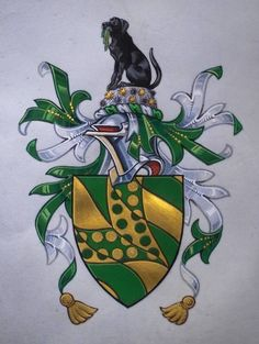 Arms: Bendy wavy Or and Vert issuant from the dexter chief a Chevron wavy throughout semy of Roundels counterchanged. Crest: On a helm with a wreath Argent and Vert, Upon a Rock proper encrusted with Sea Urchins Or and Purpure a Labrador sejant Sable holding in its mouth a gathering of Bladder Wrack Vert. Motto: Omnis spes mea in deo reposita. Granted by: The College of Arms, 27 February 2006.