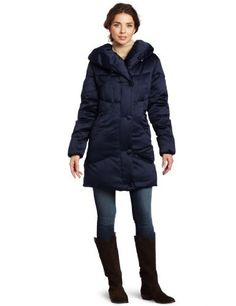 Larry Levine Women's Down Filled Satin Pillow Collar Coat Larry Levine. $100.00. Warm down fill. 100% Polyester. Fill: 60% Down/40% Waterfowl feathers lining. Machine wash. Pillow collar. Rich satin shell fabric. 100% Polyester. Made in China. Water resistant. 3/4 length