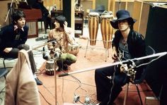 Paul McCartney, Nicky Hopkins, and Keith Richards, Olympic Studios London.
