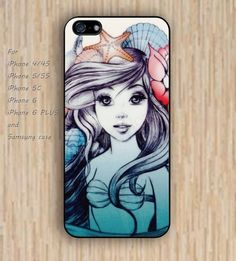 iPhone 5s 6 case watercolor cartoon little mermaid shells starfish colorful phone case iphone case,ipod case,samsung galaxy case available plastic rubber case waterproof B523