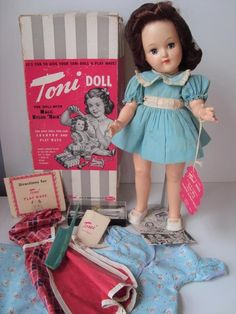 "1949 Ideal Toni Doll P91 AUBURN BRUNETTE 15"" w/Box Tag Curlers Blue Dress | Dolls & Bears, Dolls, By Brand, Company, Character | eBay!"