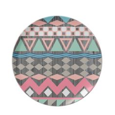 Andes Abstract Aztec Pattern Teal & Pink Pastel Dinner Plates