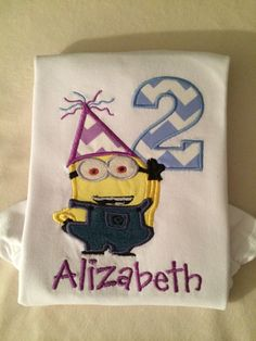 A personal favorite from my Etsy shop https://www.etsy.com/listing/208095712/minion-birthday-shirt-or-bodysuit