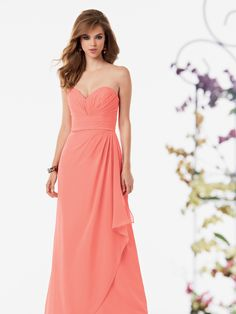 Chiffon dress with a pleated strapless bodice and sweetheart neckline.  Pleated waistband and fluted skirt with draped overskirt. 963d85a7918d