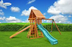 The Dreamscape Swing Set #8 features a cedar wood roof, gang plank and wooden step ladder. Great set for kids of all ages. Swing set comes complete with everything pictured!