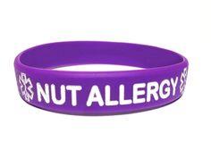 Nut Allergy Silicone Wristband Bracelet