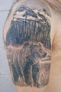 Extremely Nice Mountains With Bear And Pine Trees Tattoo On Right Half Sleeve Small Mountain Tattoo, Geometric Mountain Tattoo, Mountain Range Tattoo, Mountain Tattoo Design, Mountain Tattoos, Tree Tattoo Men, Pine Tree Tattoo, Elk Tattoo, Tattoo Small