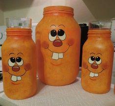 Pumpkin face jars - All For Garden Halloween Mason Jars, Mason Jar Diy, Mason Jar Crafts, Bottle Crafts, Pumpkin Crafts, Fall Crafts, Halloween Crafts, Halloween Decorations, Fall Halloween