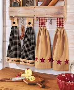 This Set of 2 Hanging Kitchen Towels is a great way to have towels close at hand for wiping up spills. Each piece features flat-woven, cotton construction with a button detail and fabric-magic closure. Kitchen Towels Hanging, Hanging Towels, Dish Towels, Tea Towels, Country Star Decor, Country Charm, Towel Crafts, Lakeside Collection, Star Decorations