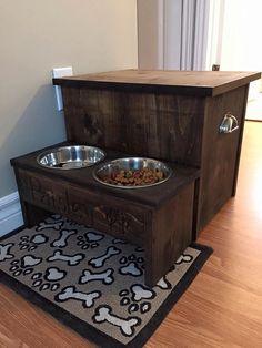 Raised dog bowl feeder with food storage by LJeffreyWoodworking