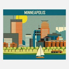 Minneapolis Print - Illustrations of city skylines found in the U.S. and around the world by Chicago artist Karen Young