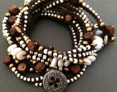 Crochet boho wrap bracelet / necklace beaded Lola by CoffyCrochet