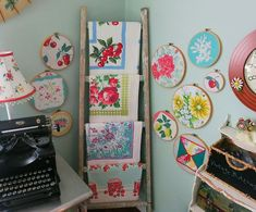 Love the embroidery hoop art.  Hey mom, i know what i want to go on the walls of the new sewing room!