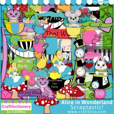 Alice In Wonderland Digital Kit by CraftBliss. Visit www.craftbliss.com for freebies and fun!