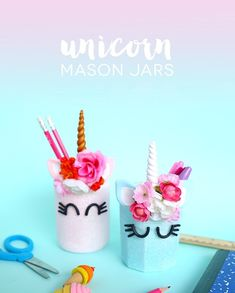 Bring back the magic and sparkle into your life with these DIY Unicorn Crafts! Find the best collection of unicorn ideas for kids and parents. Diy Craft Projects, Easy Diy Crafts, Fall Projects, Craft Ideas, Mason Jar Crafts, Mason Jar Diy, Diy For Teens, Crafts For Teens, Kids Crafts