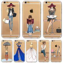 Para iphone 7 6 6 s 5 5S se 7 plus 6 splus 4S telefone Tampa Da caixa de Moda Vestido Da Menina de Compra e Transparente de Silicone Macio Saco Do Telefone Móvel alishoppbrasil
