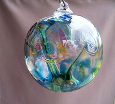 Hand Blown Art Glass Witch Ball/Ornament/Suncatcher by Route4glass