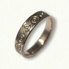 14kt Rose Gold Custom Etched Celtic Wave Wedding Band - Available In All Metals and Sizes