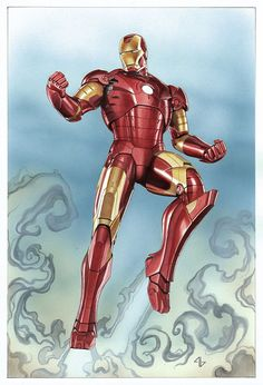 Iron Man Mk3. Acrylic over pencil on paper.