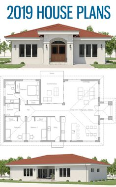 Small house plans home plans new homes floor plans smallhouseplans newhomes concepthome architecture adhouseplans dwell archdaily Three Bedroom House Plan, Family House Plans, New House Plans, Dream House Plans, Small House Plans, House Floor Plans, Bungalow House Design, Small House Design, Modern Bungalow House Plans