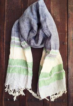 #linen #striped #scarf