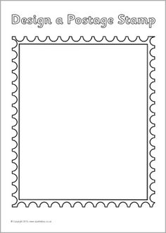 Blank postage stamp templates for children to design their own. Postage Stamp Design, Postage Stamps, Digi Stamps, Postman Pat, Office Themes, Travel Party, Summer Diy, Post Office, Coloring Pages