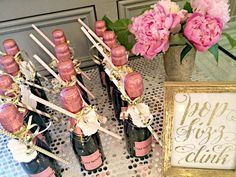 Mini champagne bottle favors from a pink and gold bridal shower party! See more party planning ideas Paris Bridal Shower, Gold Bridal Showers, Bridal Shower Pink, Baby Shower, Bridal Shower Party Favor, Blush Bridal, Mini Champagne Bottles, Champagne Party, Gold Champagne