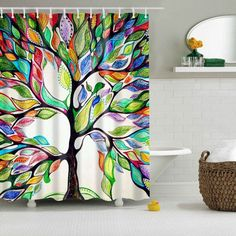 Pratical Waterproof a Colorful Tree of Life Printed Shower Curtain - COLORFUL