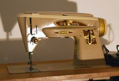 """My sewing machine the Singer 503A slant machine called the """"Rocketeer"""".  It is beltless and can do anything, it even embroiders.  It can sew the most delicate materials up to 8 layers of leather.  It is a sought after machine, and I was not going to purchase one of those cheap plastic machines, this one is all metal.  I even have a treadle machine that I will show a picture of.  Sewing is a new passion,it is fun and I will soon be able to design my own clothes."""
