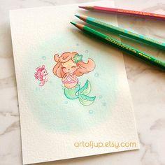 Original watercolor art baby mini mermaid artwork by ArtofJup