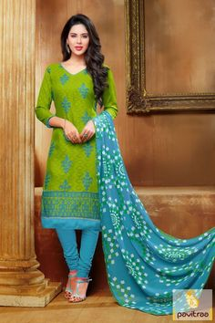 Get fabulous trends with this green color jacquard churidar salwar kameez online with lowest rate in India. A good looking casual wear embroidered full sleeves kameez comfortable for winter season. #salwarsuit, #Indiandresses, #dress, #dressesonline,  #casualdresses, #valentinedress, #formaldresses, #churidarsalwarkameez #dailywearsalwarsuit, #officewearsalwarsuit More: Any Query: Call Us:+91-7698234040 E-mail: info@pavitraa.in