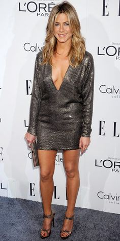 Jennifer Aniston - love her hair, her sequin minidress (Kaufmanfranco) and, of course, her silver sandals (Balenciaga)
